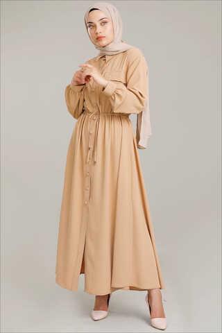 Zulays - Beli Büzgülü Elbise Camel