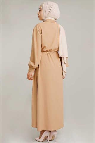 Beli Büzgülü Elbise Camel - Thumbnail