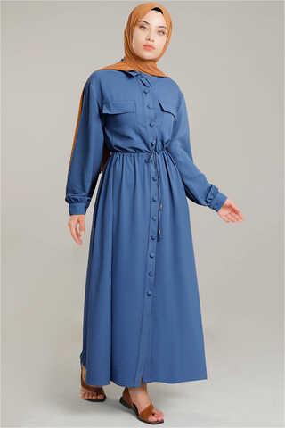 Beli Büzgülü Elbise İndigo - Thumbnail