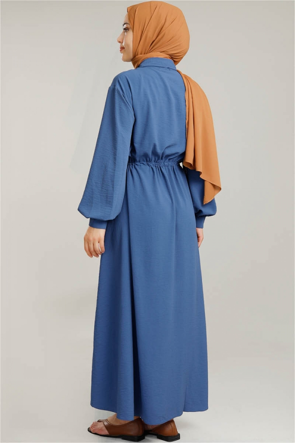 Beli Büzgülü Elbise İndigo