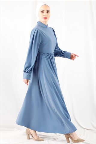 Zulays - Beli Fırfırlı Düğmeli Elbise Bebe Mavisi