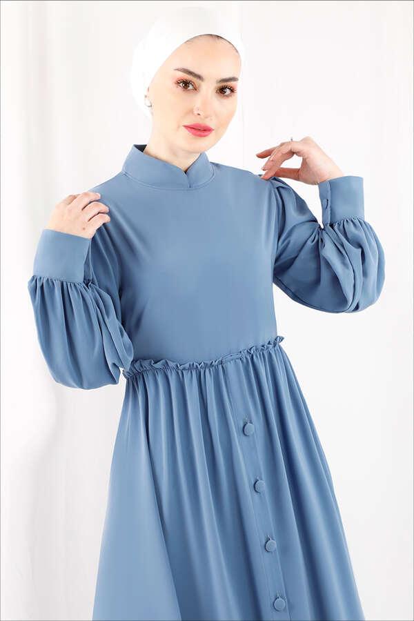 Beli Fırfırlı Düğmeli Elbise Bebe Mavisi