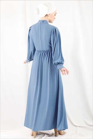 Beli Fırfırlı Düğmeli Elbise Bebe Mavisi - Thumbnail