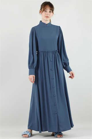 Zulays - Beli Fırfırlı Düğmeli Elbise Çelik Mavisi