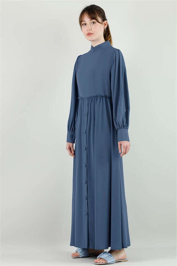 Beli Fırfırlı Düğmeli Elbise Çelik Mavisi
