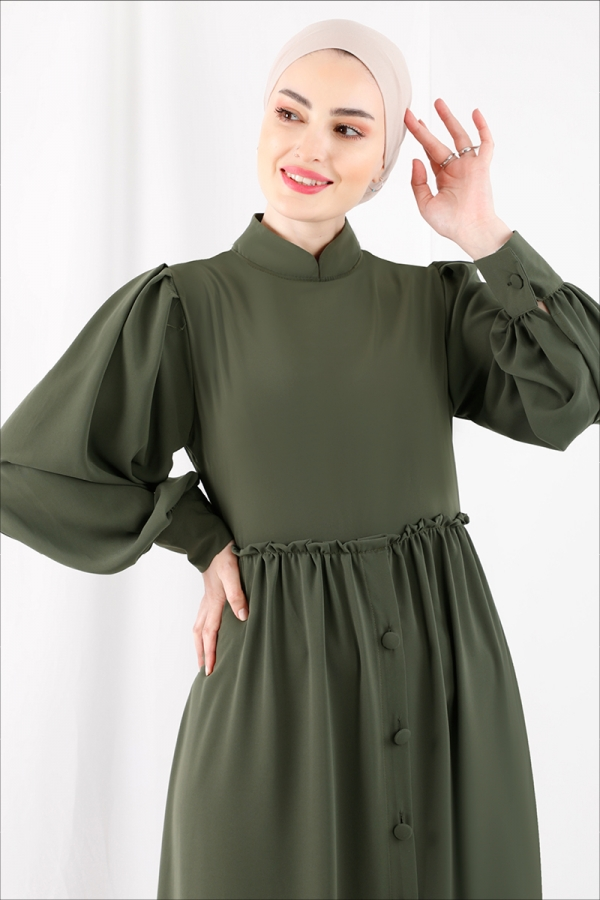 Beli Fırfırlı Düğmeli Elbise Haki