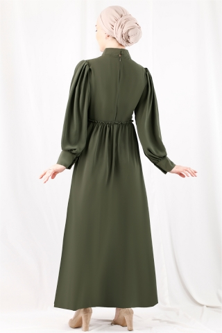 Beli Fırfırlı Düğmeli Elbise Haki - Thumbnail
