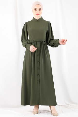 - Beli Fırfırlı Düğmeli Elbise Haki