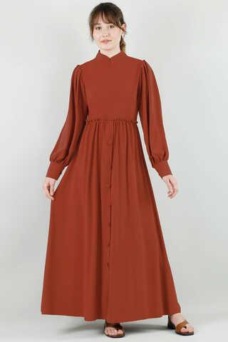 Beli Fırfırlı Düğmeli Elbise Kiremit - Thumbnail