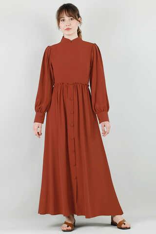 Zulays - Beli Fırfırlı Düğmeli Elbise Kiremit