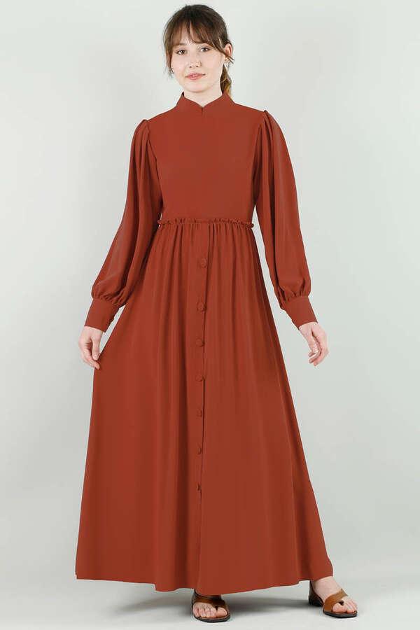 Beli Fırfırlı Düğmeli Elbise Kiremit