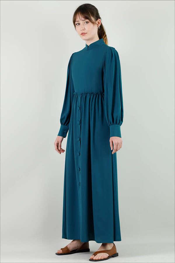 Beli Fırfırlı Düğmeli Elbise Petrol