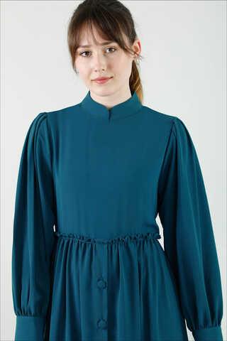 Beli Fırfırlı Düğmeli Elbise Petrol - Thumbnail