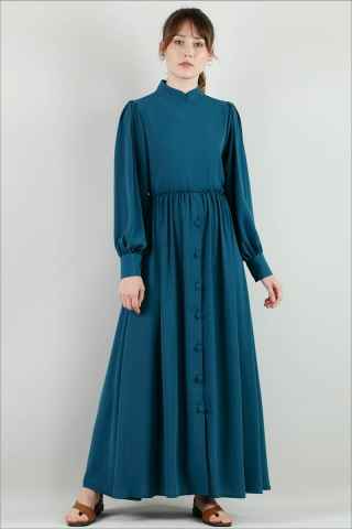 - Beli Fırfırlı Düğmeli Elbise Petrol