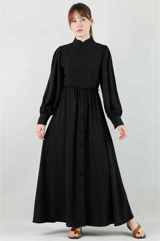 Zulays - Beli Fırfırlı Düğmeli Elbise Siyah