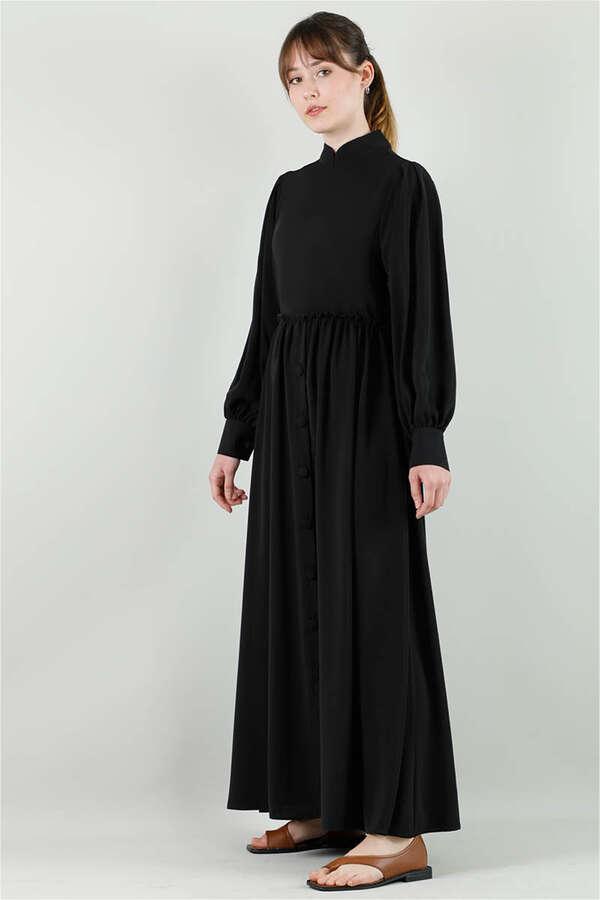Beli Fırfırlı Düğmeli Elbise Siyah