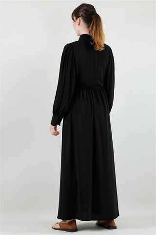 Beli Fırfırlı Düğmeli Elbise Siyah - Thumbnail