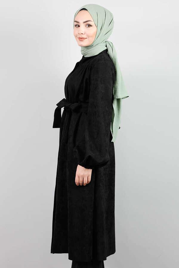Büzgü Detaylı Kemerli Siyah Süet Kap