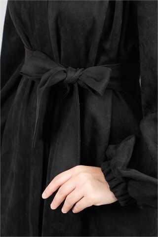 Büzgü Detaylı Kemerli Siyah Süet Kap - Thumbnail