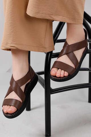 - Çapraz Bağlama Sandalet Kahve