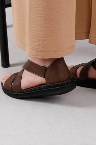 Çapraz Bağlama Sandalet Kahve - Thumbnail