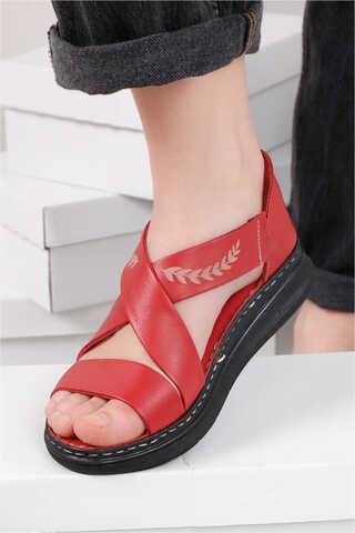 Çapraz Bağlama Sandalet Kırmızı - Thumbnail