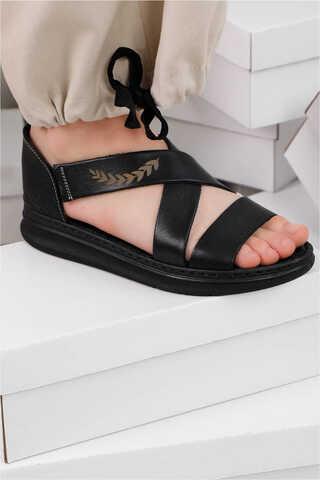 - Çapraz Bağlama Sandalet Siyah