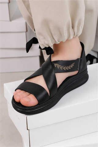 Çapraz Bağlama Sandalet Siyah - Thumbnail