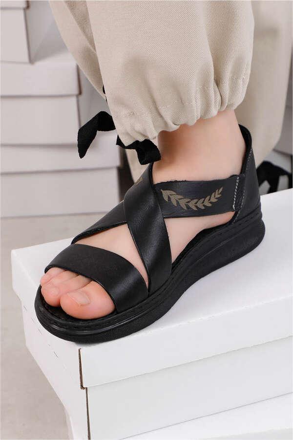 Çapraz Bağlama Sandalet Siyah