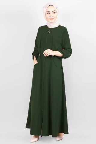 Zulays - Cepkenli Koyu Yeşil Ferace