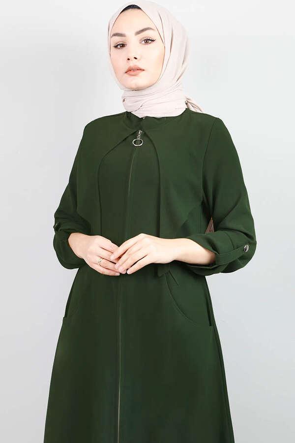 Cepkenli Koyu Yeşil Ferace