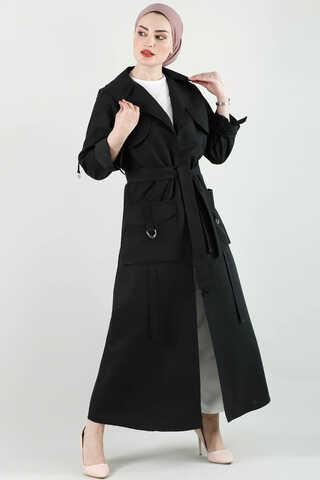Zulays - Cepli Uzun Siyah Trenç