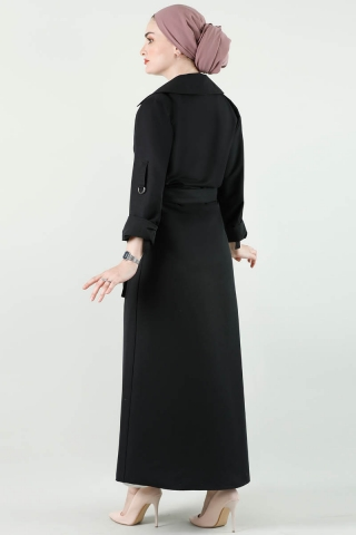 Cepli Uzun Siyah Trenç - Thumbnail