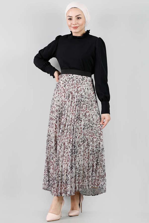 Çiçekli Pileli Etek Takım Siyah
