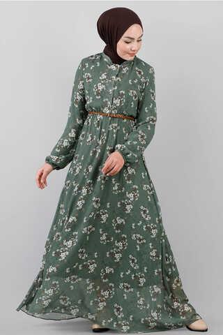- Çiçekli Şifon Elbise Çağla