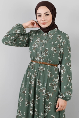 Çiçekli Şifon Elbise Çağla - Thumbnail