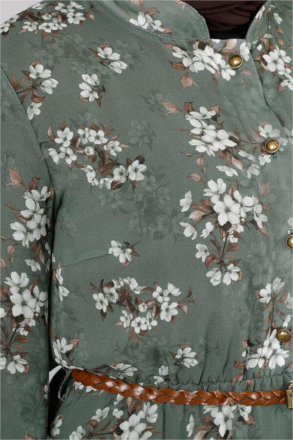 Çiçekli Şifon Elbise Çağla