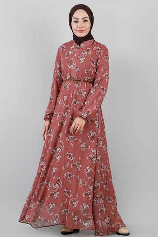 - Çiçekli Şifon Elbise Gül