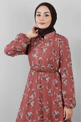Çiçekli Şifon Elbise Gül - Thumbnail