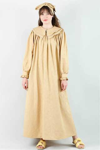 - Çift Yaka Bol Kesim Elbise Camel