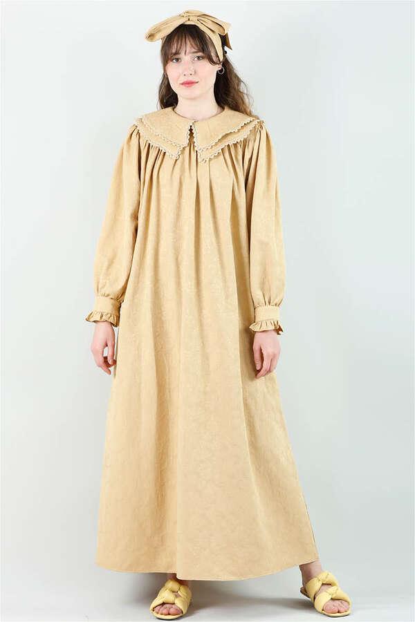 Çift Yaka Bol Kesim Elbise Camel