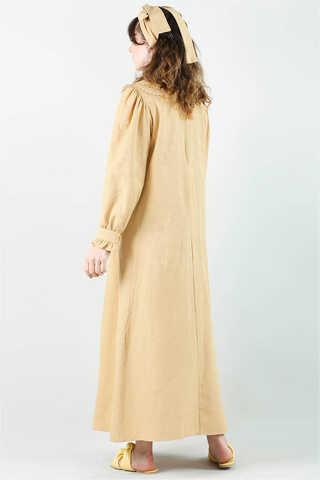 Çift Yaka Bol Kesim Elbise Camel - Thumbnail