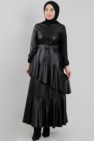 ERCOOL - Deri Elbise Siyah