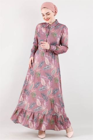 Zulays - Desenli Elbise Mor
