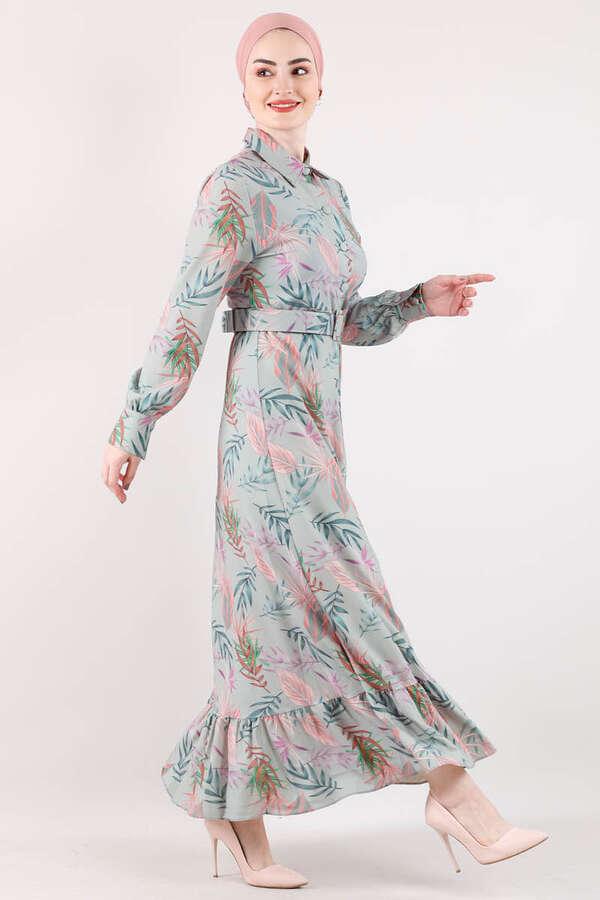 Desenli Elbise Mint