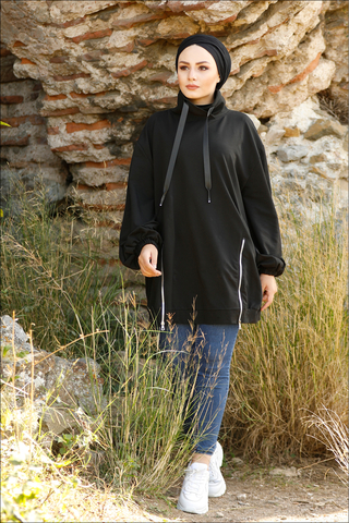 Zulays - Dik Yaka Fermuarlı Sweatshirt Siyah