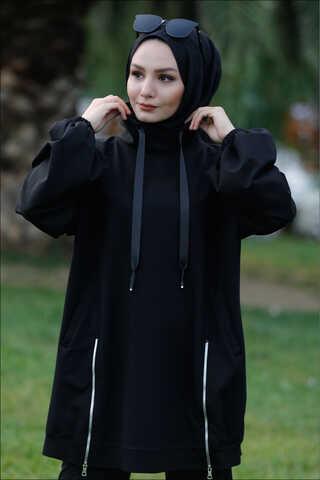 Dik Yaka Fermuarlı Sweatshirt Siyah - Thumbnail