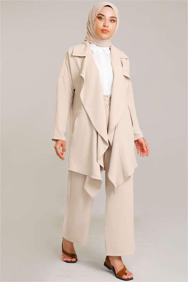 Dökümlü Ceket Takım Bej