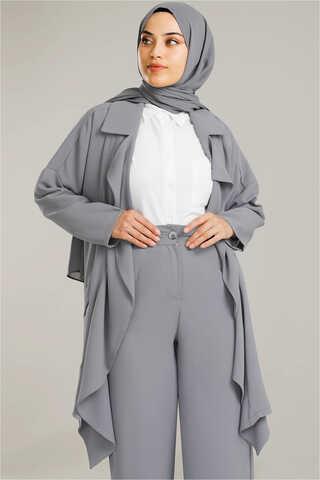 Dökümlü Ceket Takım Gri - Thumbnail
