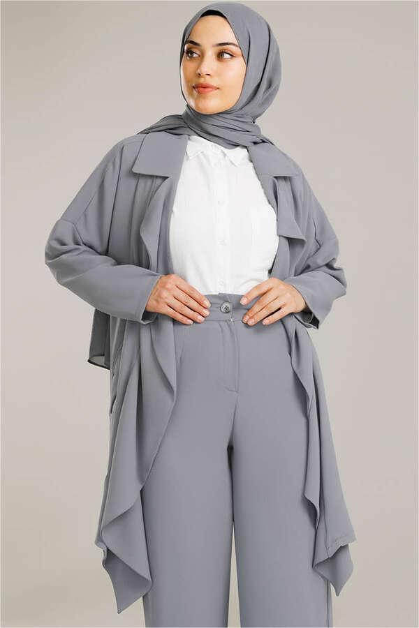Dökümlü Ceket Takım Gri